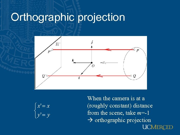 Orthographic projection When the camera is at a (roughly constant) distance from the scene,