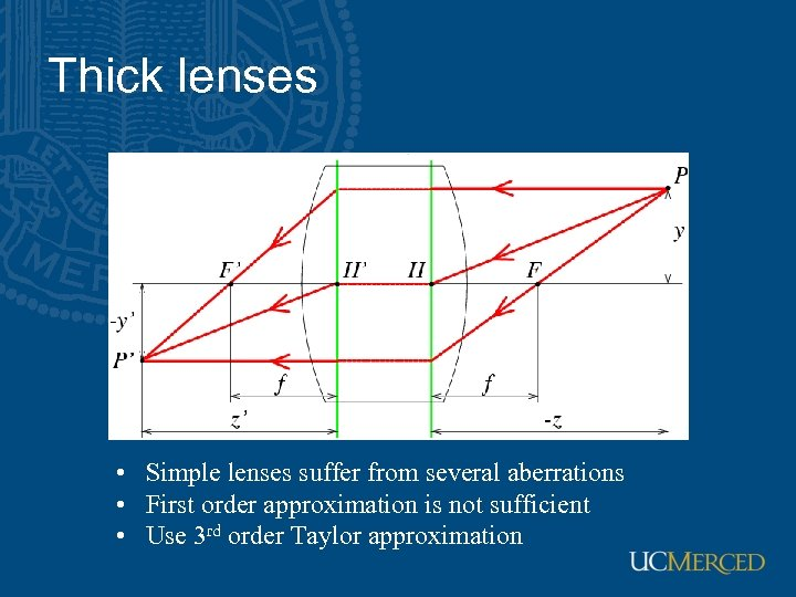 Thick lenses • Simple lenses suffer from several aberrations • First order approximation is