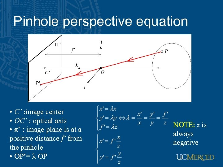 Pinhole perspective equation • C' : image center • OC' : optical axis •