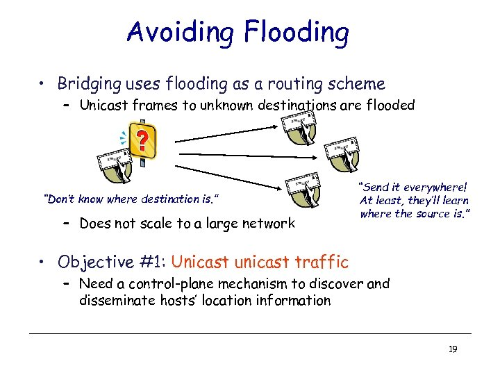 Avoiding Flooding • Bridging uses flooding as a routing scheme – Unicast frames to