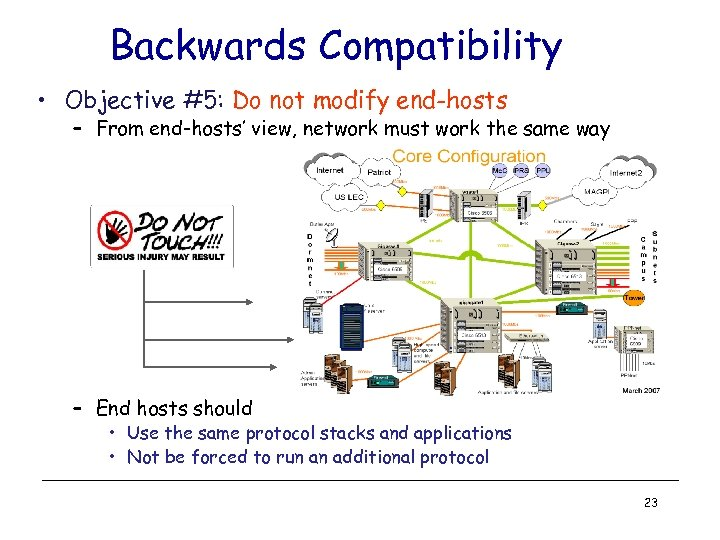 Backwards Compatibility • Objective #5: Do not modify end-hosts – From end-hosts' view, network