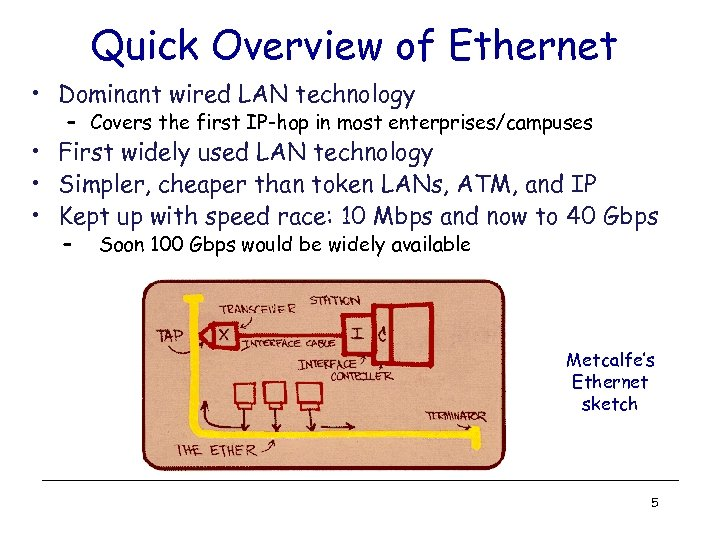 Quick Overview of Ethernet • Dominant wired LAN technology – Covers the first IP-hop