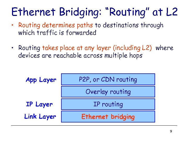 "Ethernet Bridging: ""Routing"" at L 2 • Routing determines paths to destinations through which"