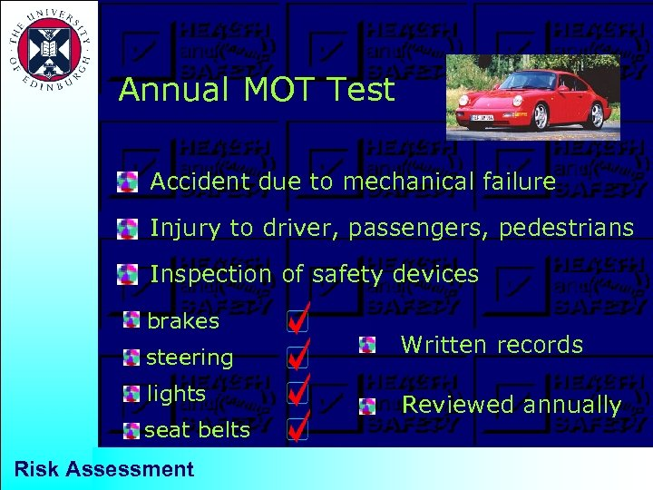 Annual MOT Test Accident due to mechanical failure Injury to driver, passengers, pedestrians Inspection