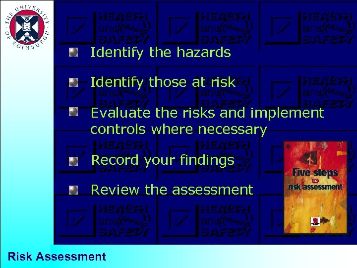 Identify the hazards Identify those at risk Evaluate the risks and implement controls where