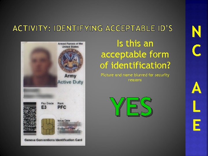 ACTIVITY: IDENTIFYING ACCEPTABLE ID'S Is this an acceptable form of identification? Picture and name