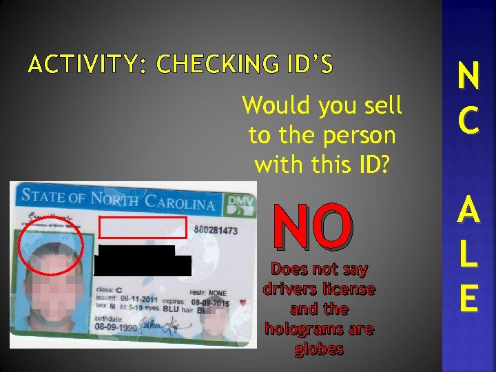 ACTIVITY: CHECKING ID'S Would you sell to the person with this ID? NO Does