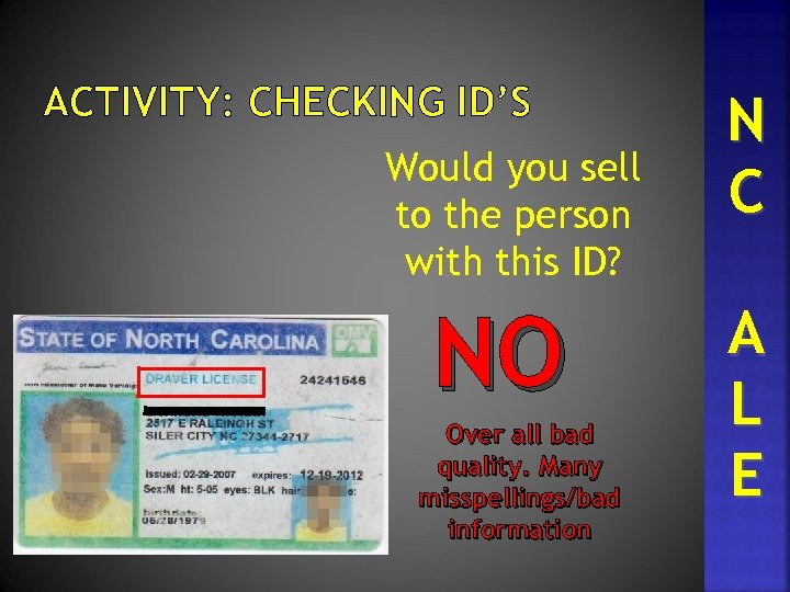 ACTIVITY: CHECKING ID'S Would you sell to the person with this ID? NO Over