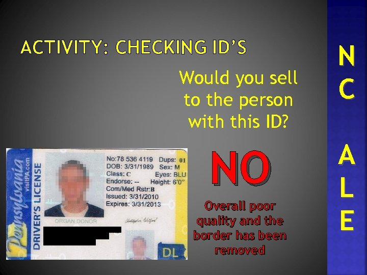 ACTIVITY: CHECKING ID'S Would you sell to the person with this ID? NO Overall