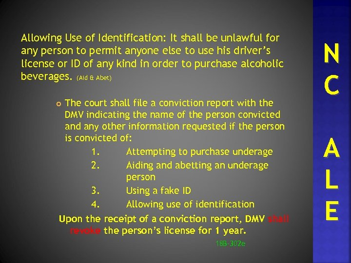 Allowing Use of Identification: It shall be unlawful for any person to permit anyone