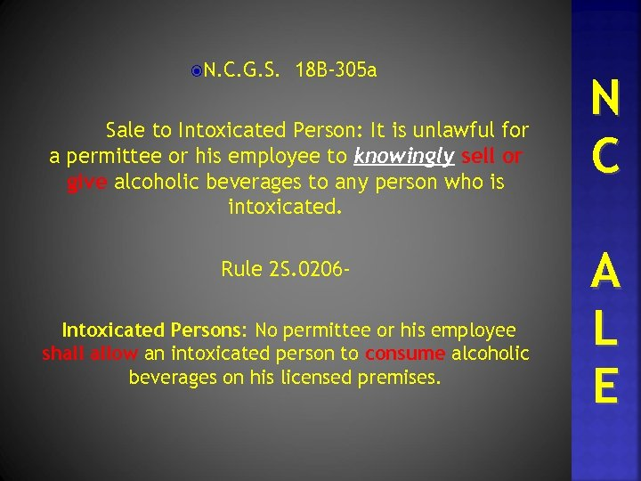 N. C. G. S. 18 B-305 a Sale to Intoxicated Person: It is
