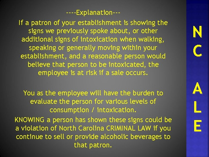 ----Explanation--If a patron of your establishment is showing the signs we previously spoke about,