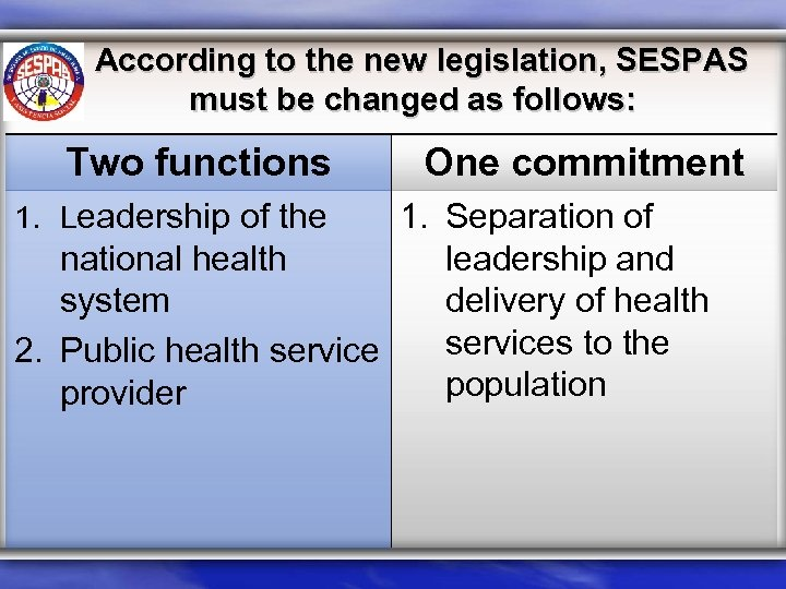 According to the new legislation, SESPAS must be changed as follows: Two functions