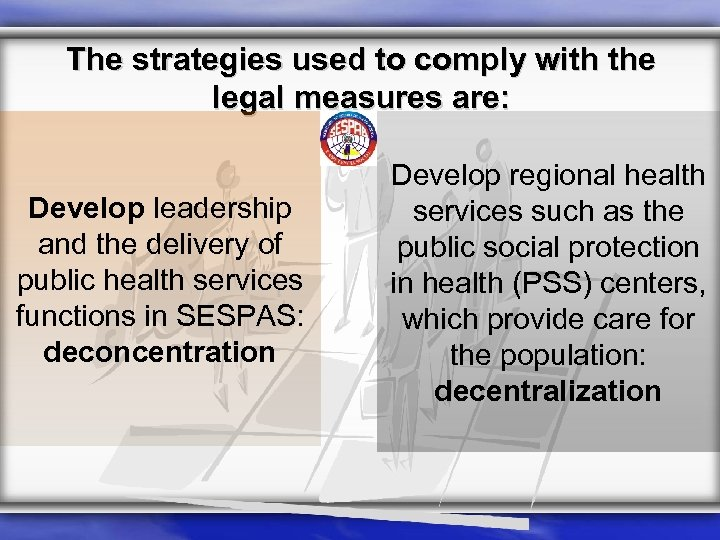 The strategies used to comply with the legal measures are: Develop leadership and the