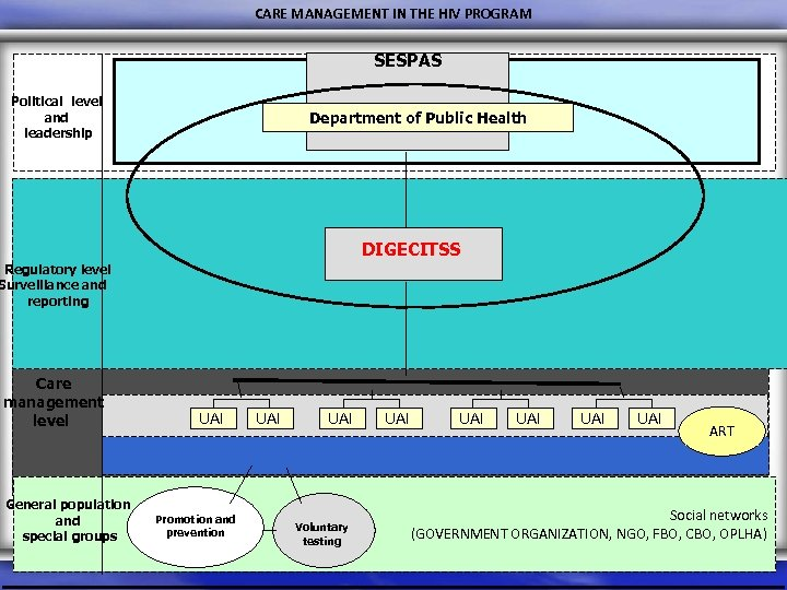 CARE MANAGEMENT IN THE HIV PROGRAM SESPAS Political level and leadership Department of Public