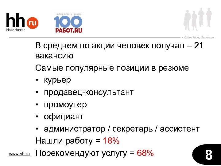 Online Hiring Services www. hh. ru В среднем по акции человек получал – 21