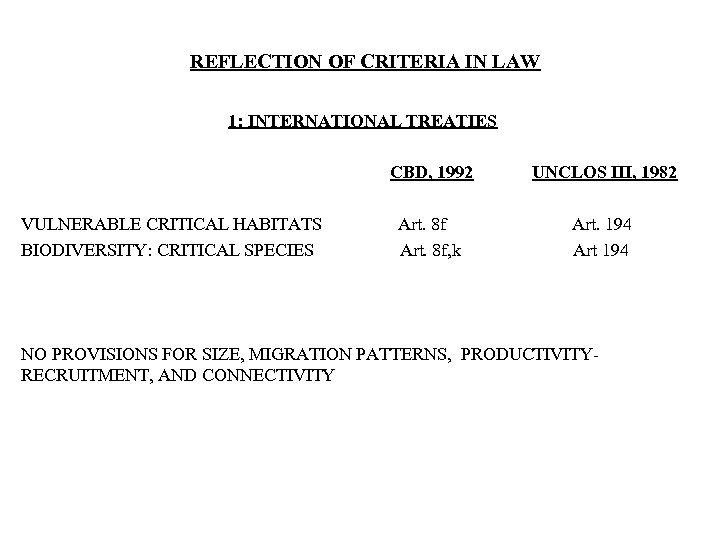 REFLECTION OF CRITERIA IN LAW 1: INTERNATIONAL TREATIES CBD, 1992 VULNERABLE CRITICAL HABITATS BIODIVERSITY: