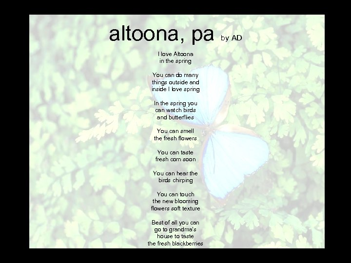altoona, pa I love Altoona in the spring You can do many things outside