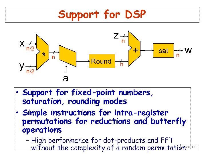 Support for DSP x n/2 y n/2 zn * + n Round sat n