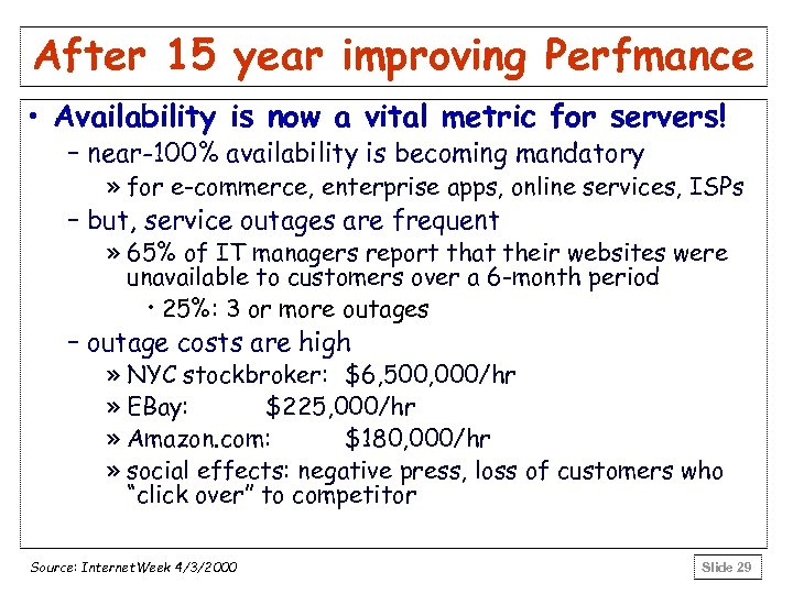 After 15 year improving Perfmance • Availability is now a vital metric for servers!