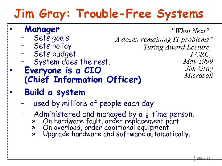 """Jim Gray: Trouble-Free Systems • • Manager """"What Next? – Sets goals A dozen"""