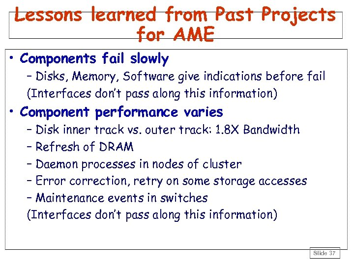 Lessons learned from Past Projects for AME • Components fail slowly – Disks, Memory,