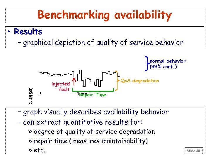 Benchmarking availability • Results – graphical depiction of quality of service behavior normal behavior