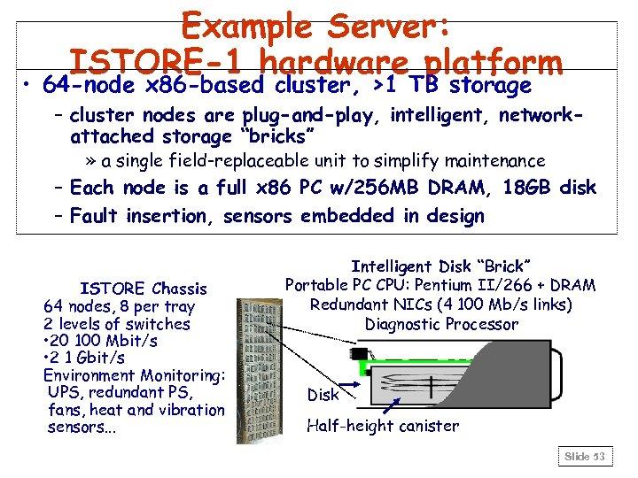 Example Server: ISTORE-1 hardware platform • 64 -node x 86 -based cluster, >1 TB