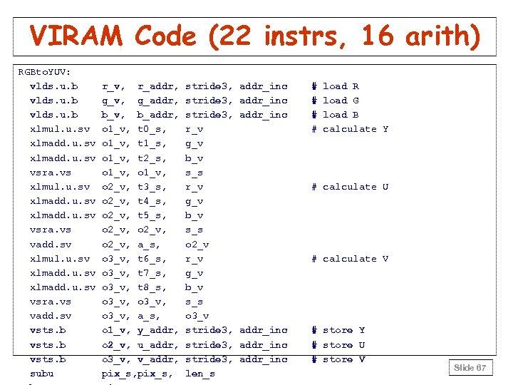 VIRAM Code (22 instrs, 16 arith) RGBto. YUV: vlds. u. b xlmul. u. sv