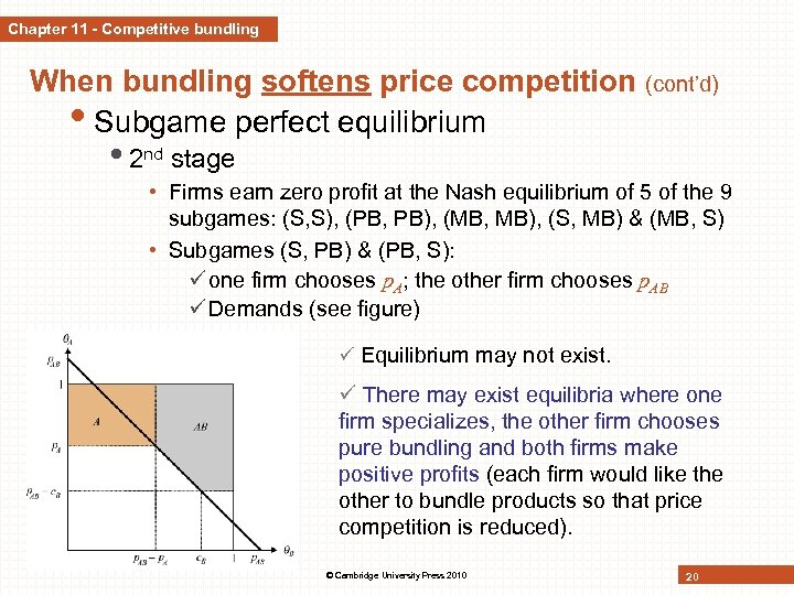 Chapter 11 - Competitive bundling When bundling softens price competition (cont'd) • Subgame perfect