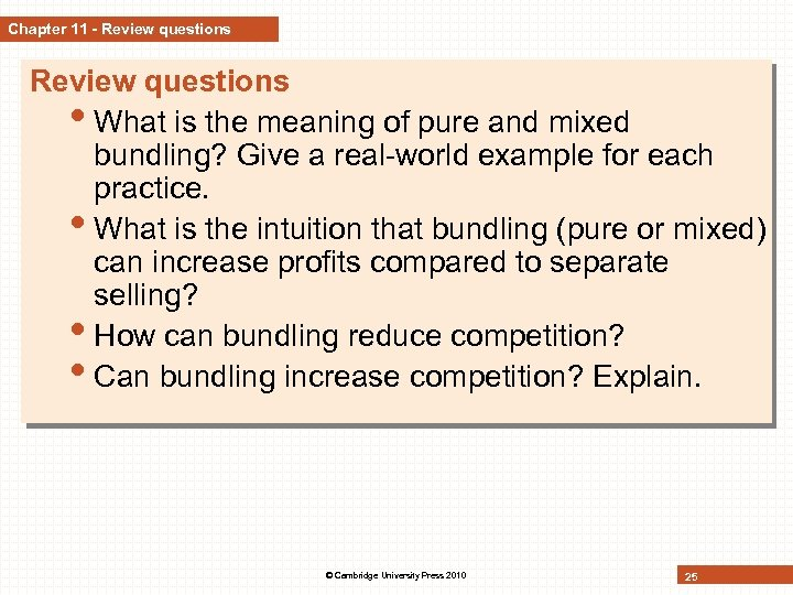 Chapter 11 - Review questions • What is the meaning of pure and mixed