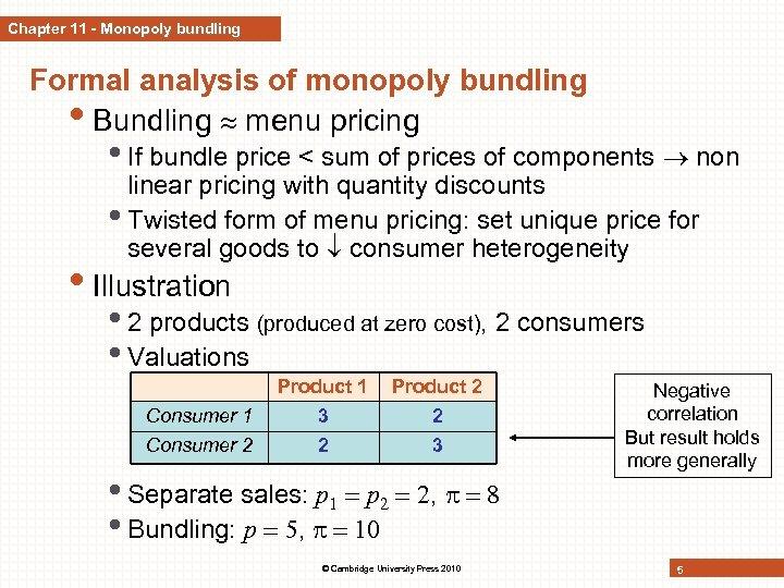 Chapter 11 - Monopoly bundling Formal analysis of monopoly bundling • Bundling menu pricing