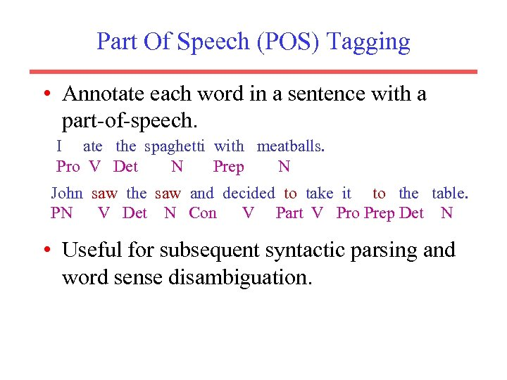 Part Of Speech (POS) Tagging • Annotate each word in a sentence with a
