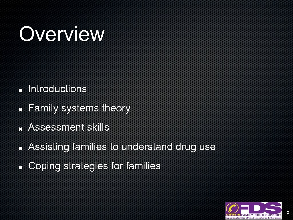 Overview Introductions Family systems theory Assessment skills Assisting families to understand drug use Coping