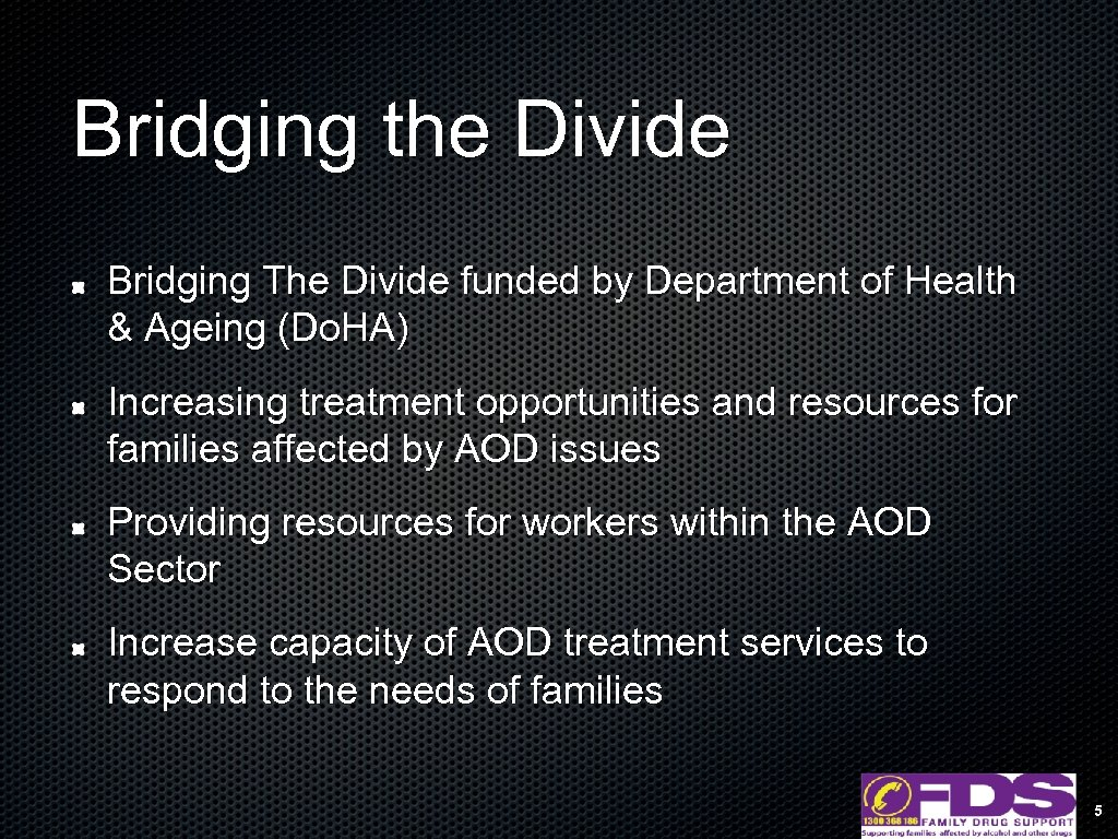 Bridging the Divide Bridging The Divide funded by Department of Health & Ageing (Do.