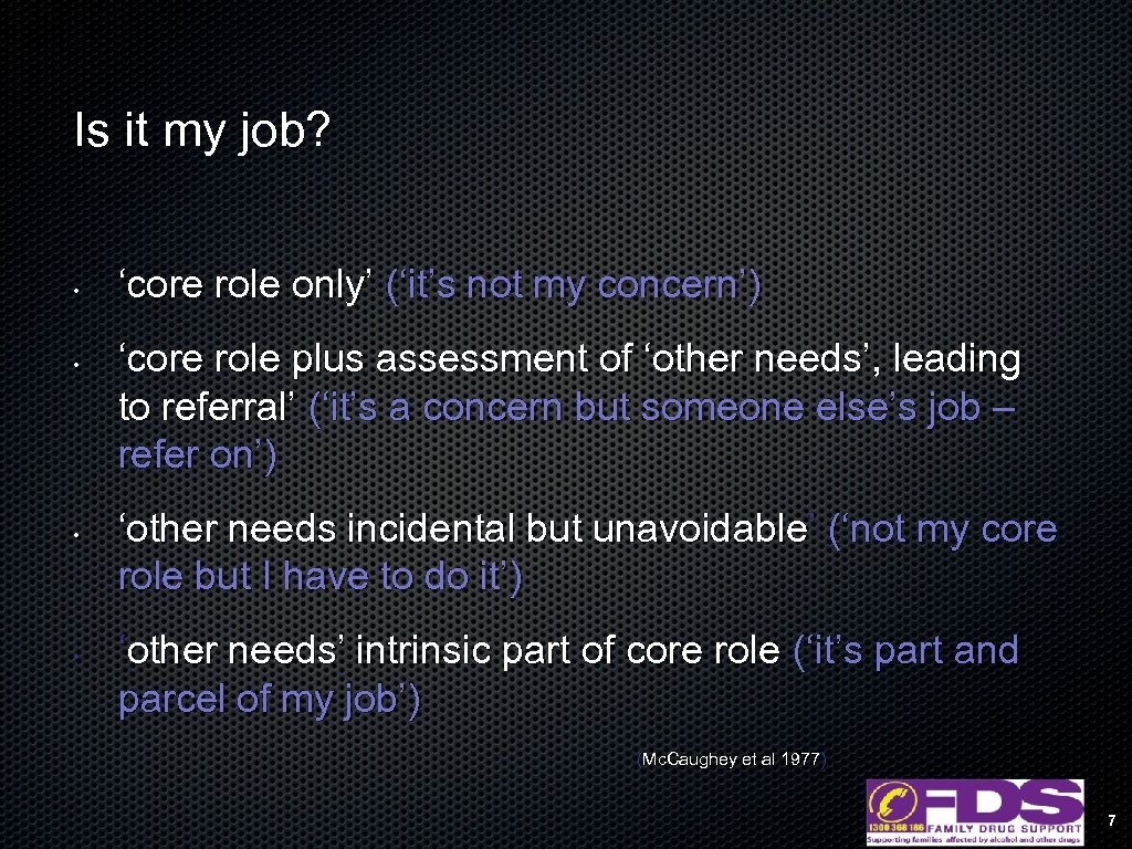 Is it my job? • • 'core role only' ('it's not my concern') 'core