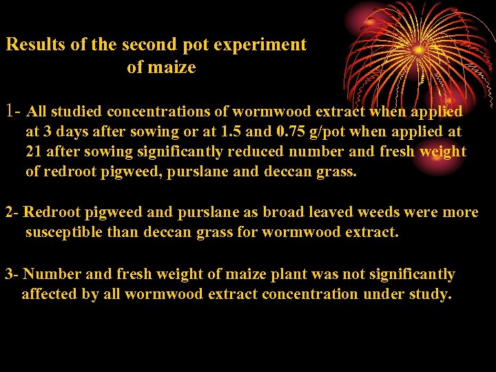Results of the second pot experiment of maize 1 - All studied concentrations of