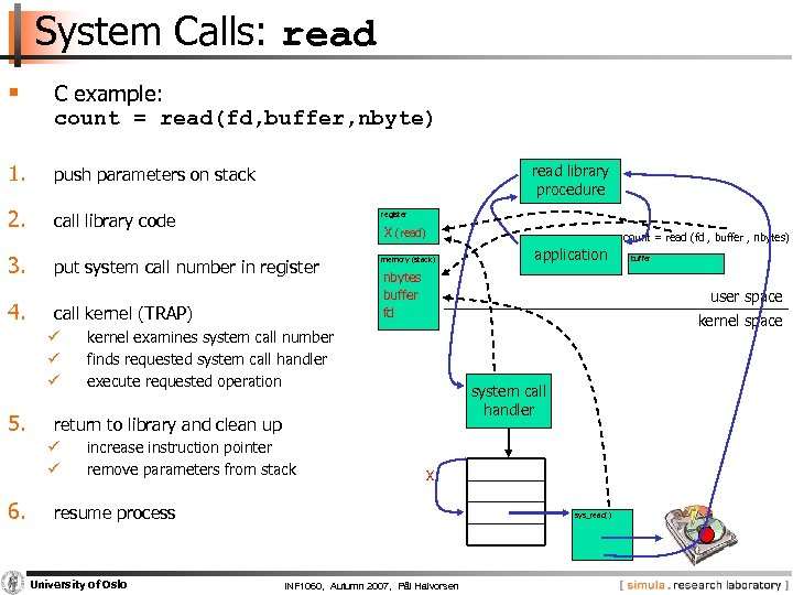 System Calls: read § C example: count = read(fd, buffer, nbyte) 1. push parameters