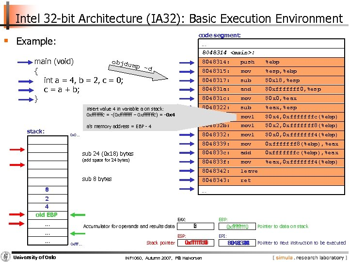 Intel 32 -bit Architecture (IA 32): Basic Execution Environment code segment: § Example: …