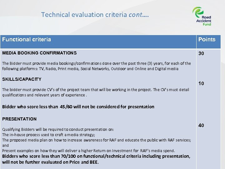 Technical evaluation criteria cont…. Functional criteria Points MEDIA BOOKING CONFIRMATIONS 30 The Bidder must