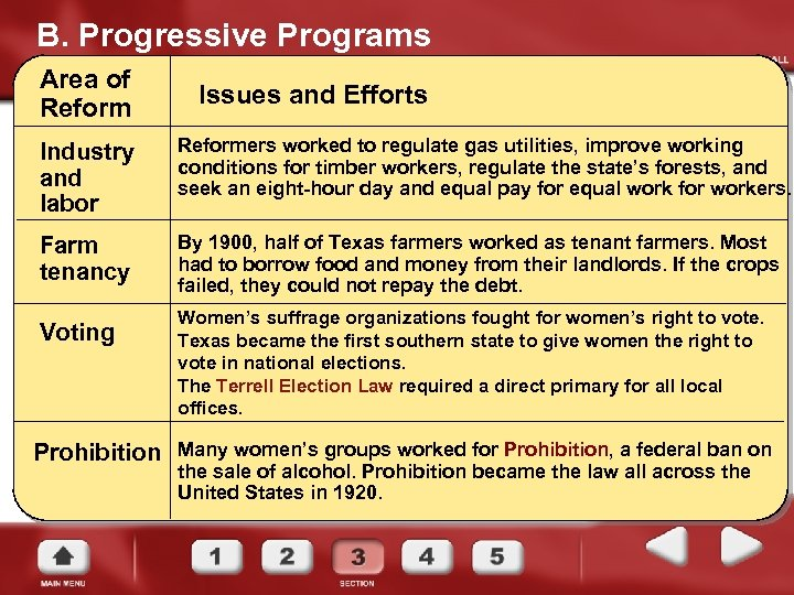 B. Progressive Programs Area of Reform Issues and Efforts Industry and labor Reformers worked