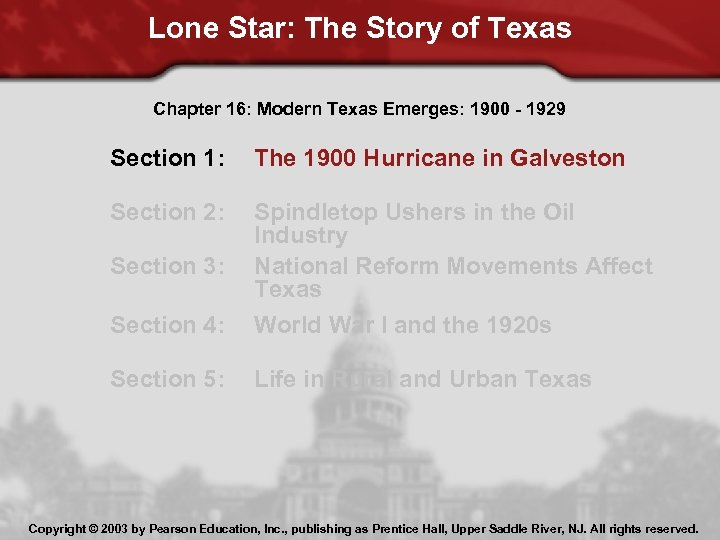 Lone Star: The Story of Texas Chapter 16: Modern Texas Emerges: 1900 - 1929