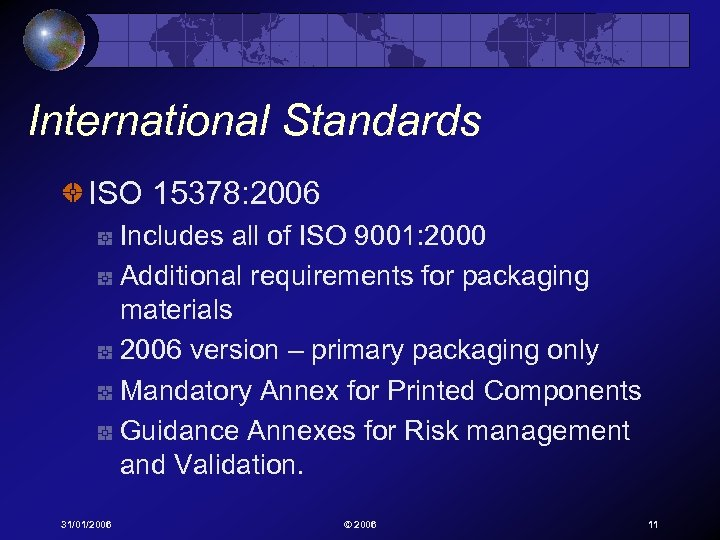 International Standards ISO 15378: 2006 Includes all of ISO 9001: 2000 Additional requirements for