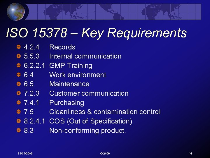 ISO 15378 – Key Requirements 4. 2. 4 5. 5. 3 6. 2. 2.