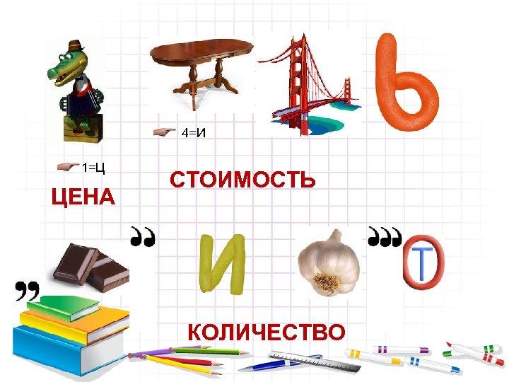 4=И 1=Ц ЦЕНА СТОИМОСТЬ КОЛИЧЕСТВО