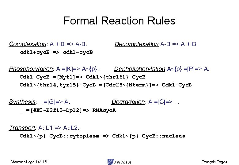 Formal Reaction Rules Complexation: A + B => A-B. Decomplexation A-B => A +