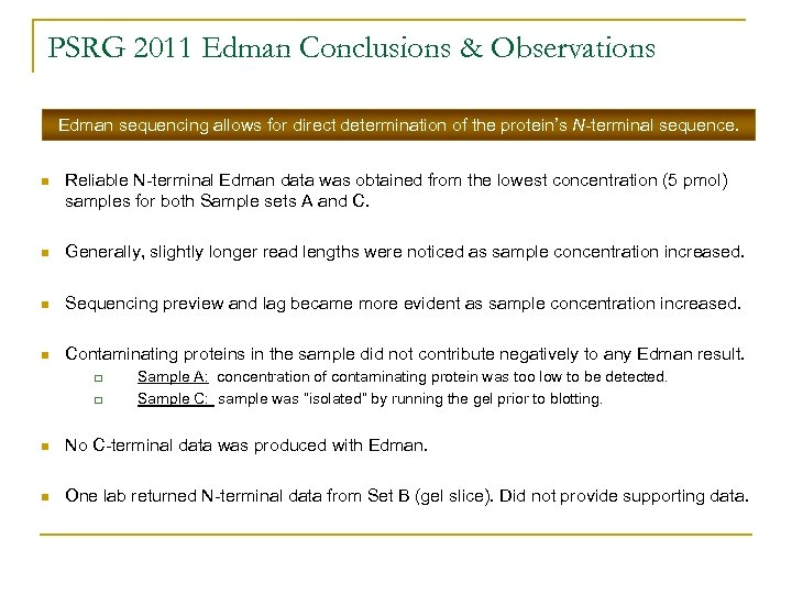 PSRG 2011 Edman Conclusions & Observations Edman sequencing allows for direct determination of the