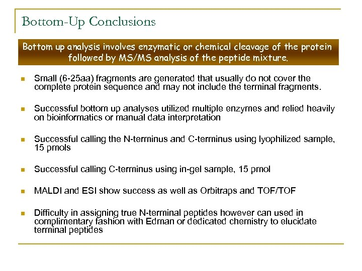 Bottom-Up Conclusions Bottom up analysis involves enzymatic or chemical cleavage of the protein followed
