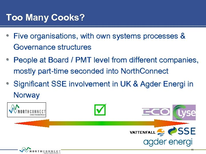 Too Many Cooks? • Five organisations, with own systems processes & Governance structures •