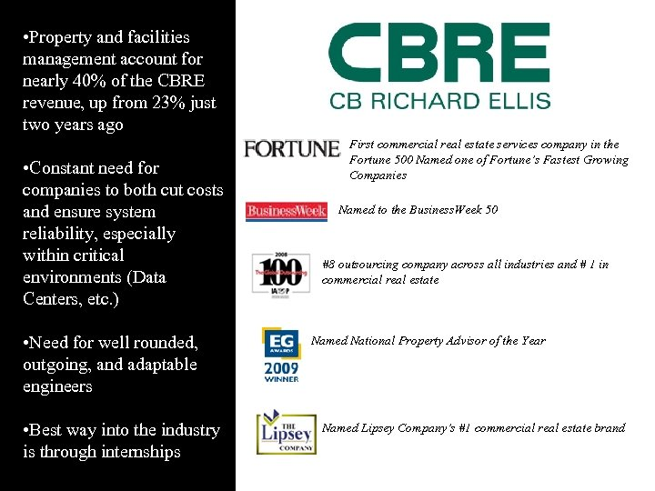 • Property and facilities management account for nearly 40% of the CBRE revenue,